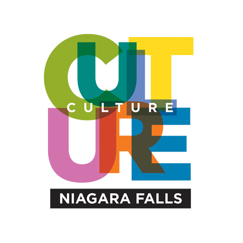 Culture spelled in vibrant colours with Niagara Falls written below