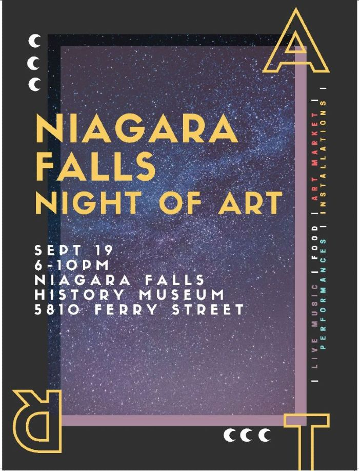Poster with Niagara Falls night of art dates and details