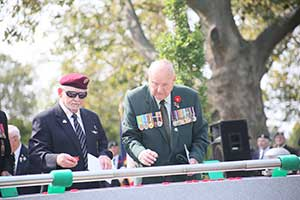 Veterans placing poppies on the casket of the unknown soldier