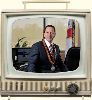 Mayor Diodati on Television screen