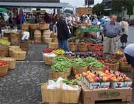 fresh fruits, vegetables, flowers and meat at the market