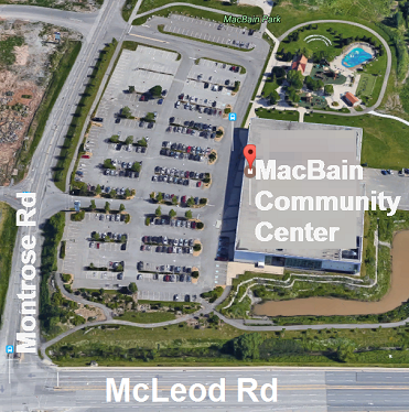 Aerial map of MacBain Community Center, 7150 Montrose Road