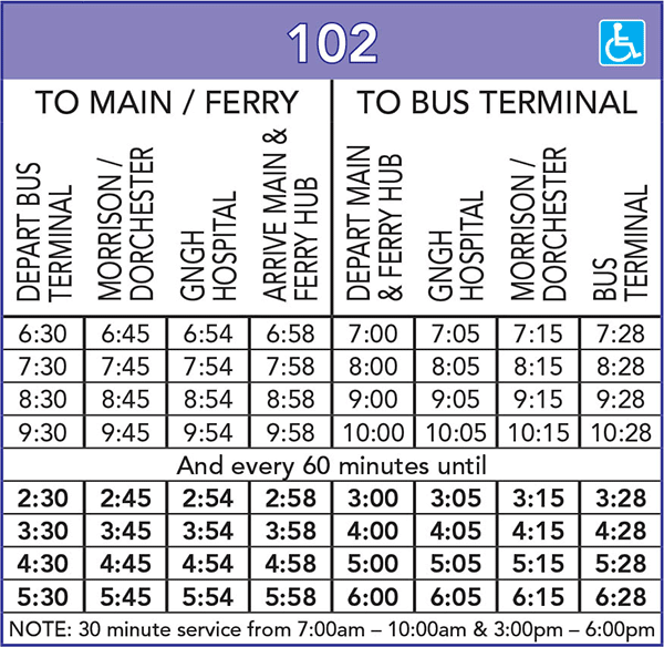 Route 102 Schedule