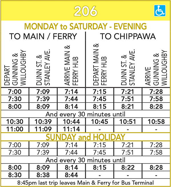 Route 206 Schedule